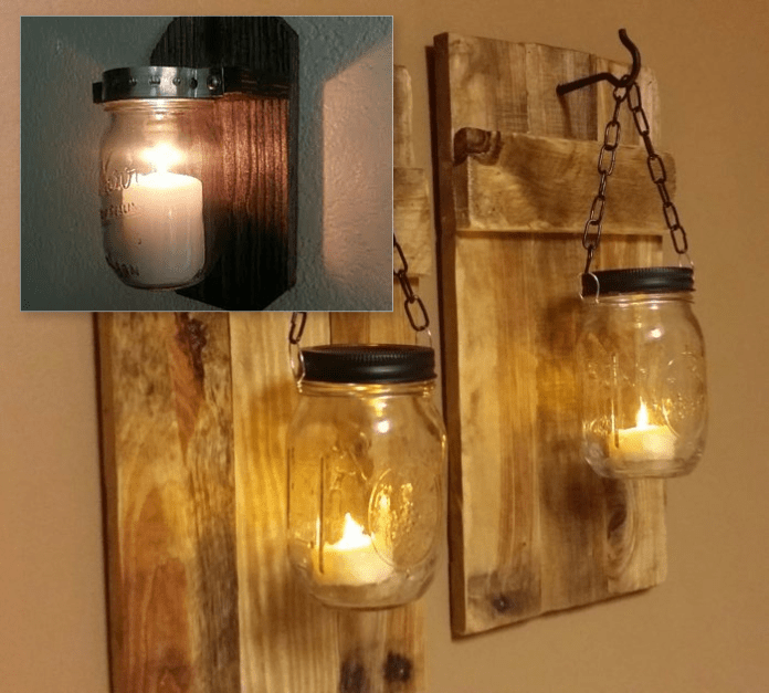 2.Mason Jar Sconces via SIMPHOME.COM