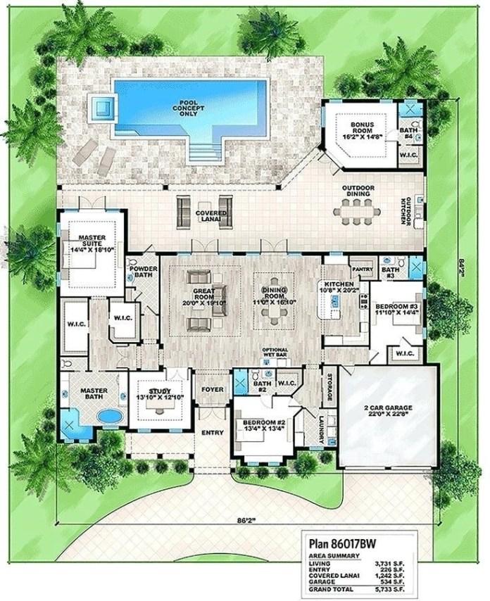 5.Florida house floor plans via SIMPHOME.COM