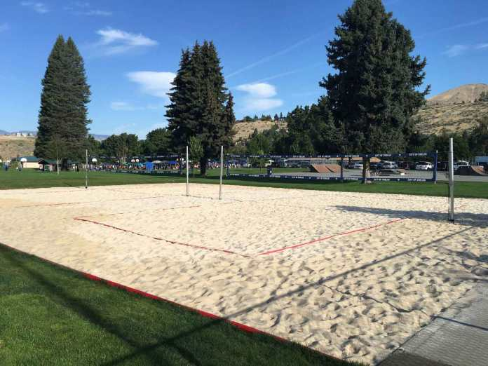 6. Simphome.com Volleyball Court with PVC Lining and White Sands