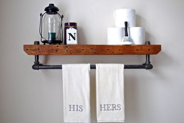 6.SIMPHOME.COM Bathroom Shelf with Towel Holder