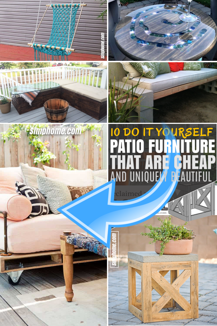 SIMPHOME.COM 10 DIY Patio Furniture Projects that are Cheap Featured Pinterest