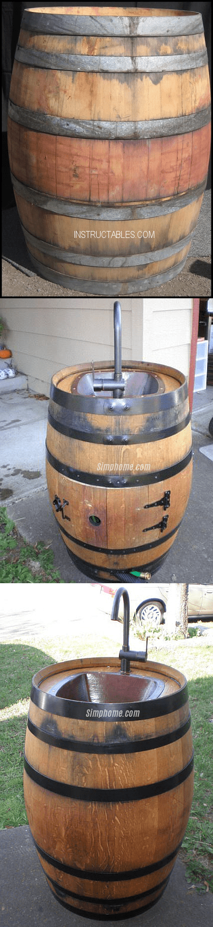 1.Simphome.com Turn an Old Wine Barrel into an Outdoor Sink