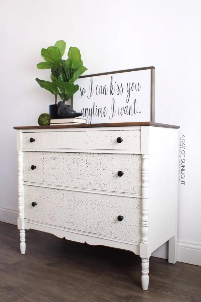4.Simphome.com Stencil the Dresser with Raised Texture