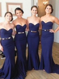 Long Dark Blue Prom Dress - Mermaid Strapless with Gold ...
