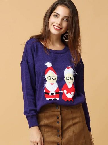 Dark Blue Round Neck Long Sleeves Women's Oversized Sweaters