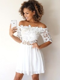A-Line Off-the-Shoulder Half Sleeves White Homecoming ...