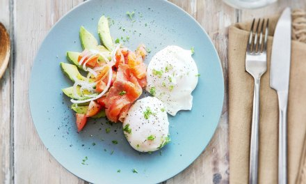 Poached eggs with salmon and avocado