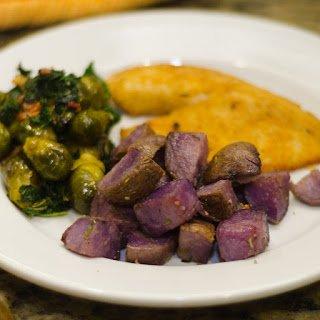 Oven Roasted Purple Potatoes on a Plate