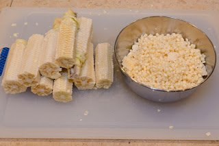 Cobs for making Toasted Corn Stock along with the Kernels