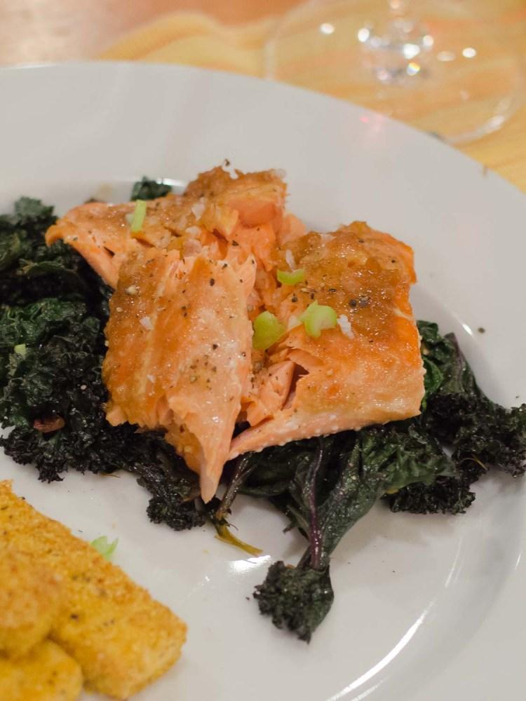 Miso Ginger Glazed Salmon Poached in Olive Oil