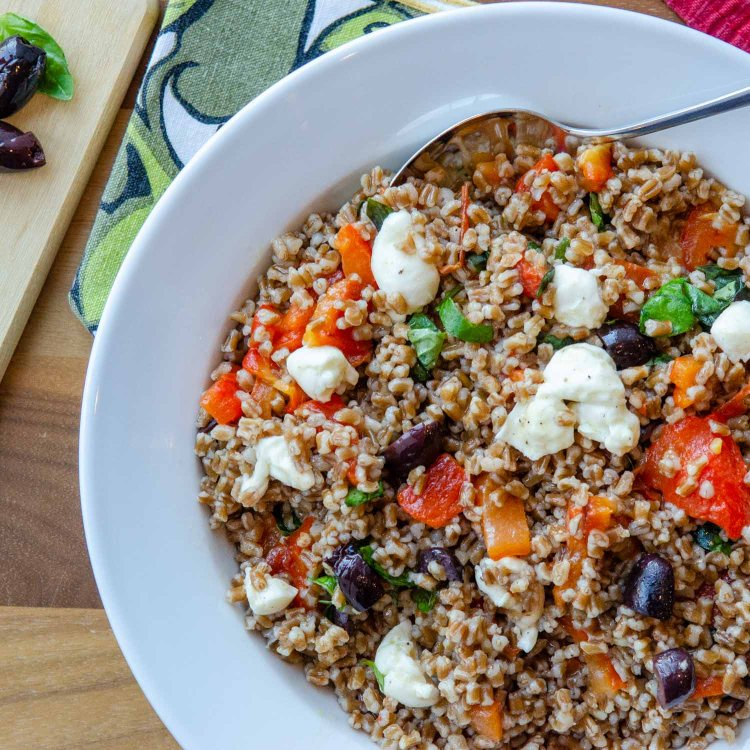 Wheatberry Salad and Roasted Red Pepper Salad with Mozzarella, Olives and Basil