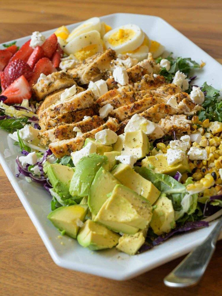 Kale Salad on a Rectangular Serving Plate