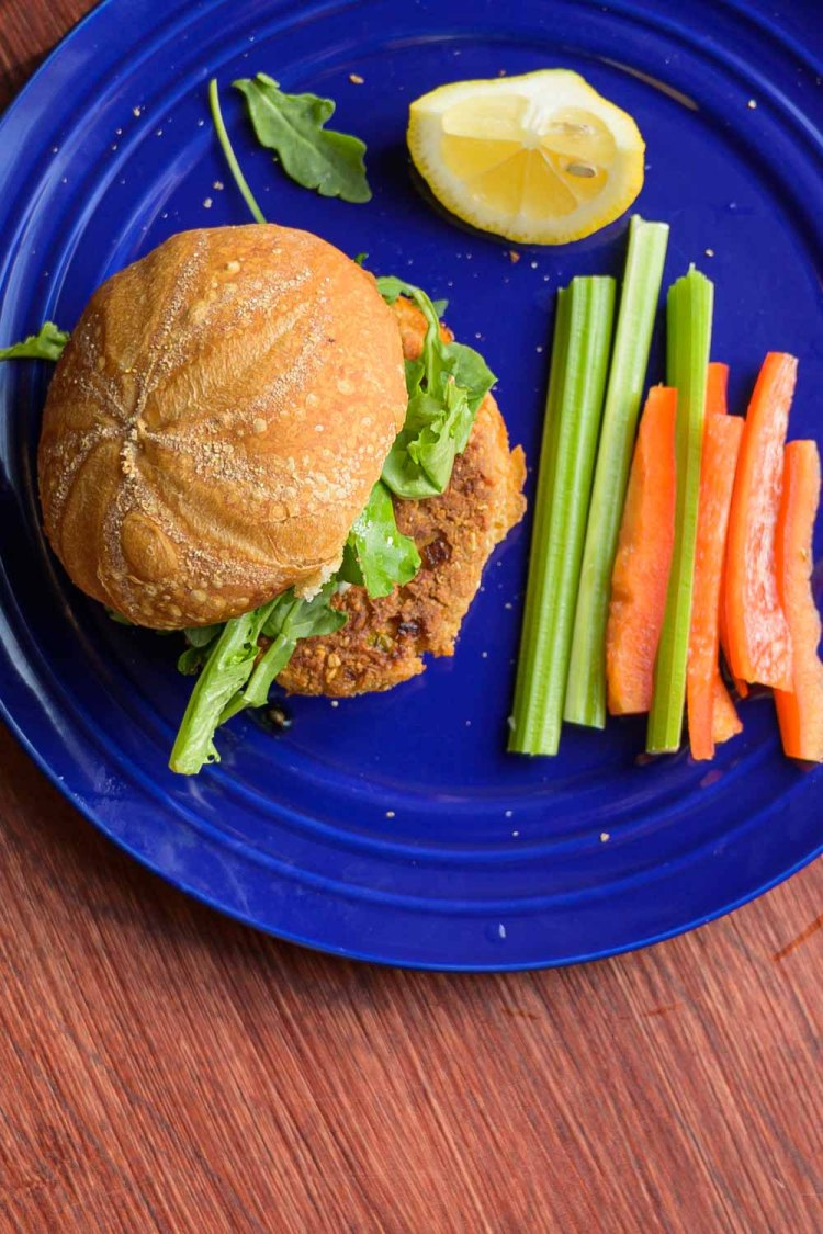 Canned Salmon Burger on a Bun with Caper Aioli