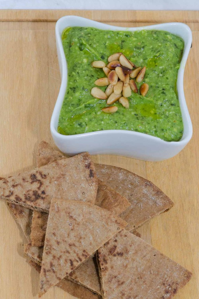 Basil & Asparagus Pesto with Pine Nuts and Toasted Whole Wheat Pita Bread