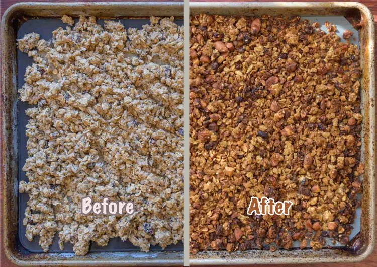 Before and After Cooking Okara Granola in the Oven