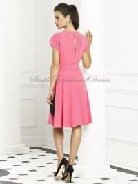 Pink Knee-length punch Cowl Short-Sleeve Bridesmaid Dress ...