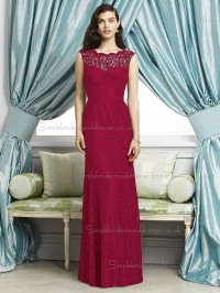 Spanish Red / Red Sleeveless Lace Mermaid Floor-length ...