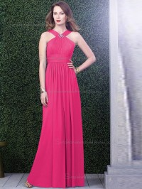 Celebrity Hot Pink Chiffon Floor-length Bridesmaid Dresses ...