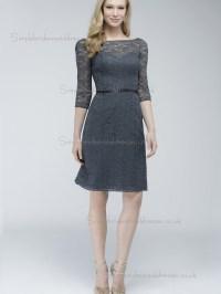 UK Belt Gray Lace Short-length Bridesmaid Dresses ...