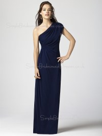 Sheath Zipper Dark-Navy Chiffon One-Shoulder Bridesmaid ...