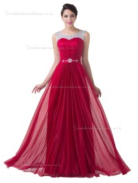 Buy UK Elegant Red Chiffon Floor Length Long Bridesmaid ...