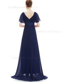 Budget Discount Navy Long Chiffon Bridesmaid Dress ...