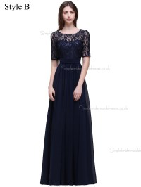 Cheap Amazing Navy Lace Floor-length Chiffon Bridesmaid ...