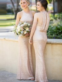Beautiful Romantica High - Neck Sequins Rose Gold Wedding ...