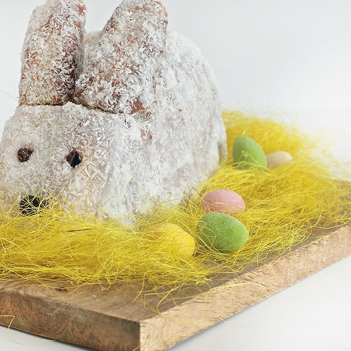 Banana coconut Easter bunny cake