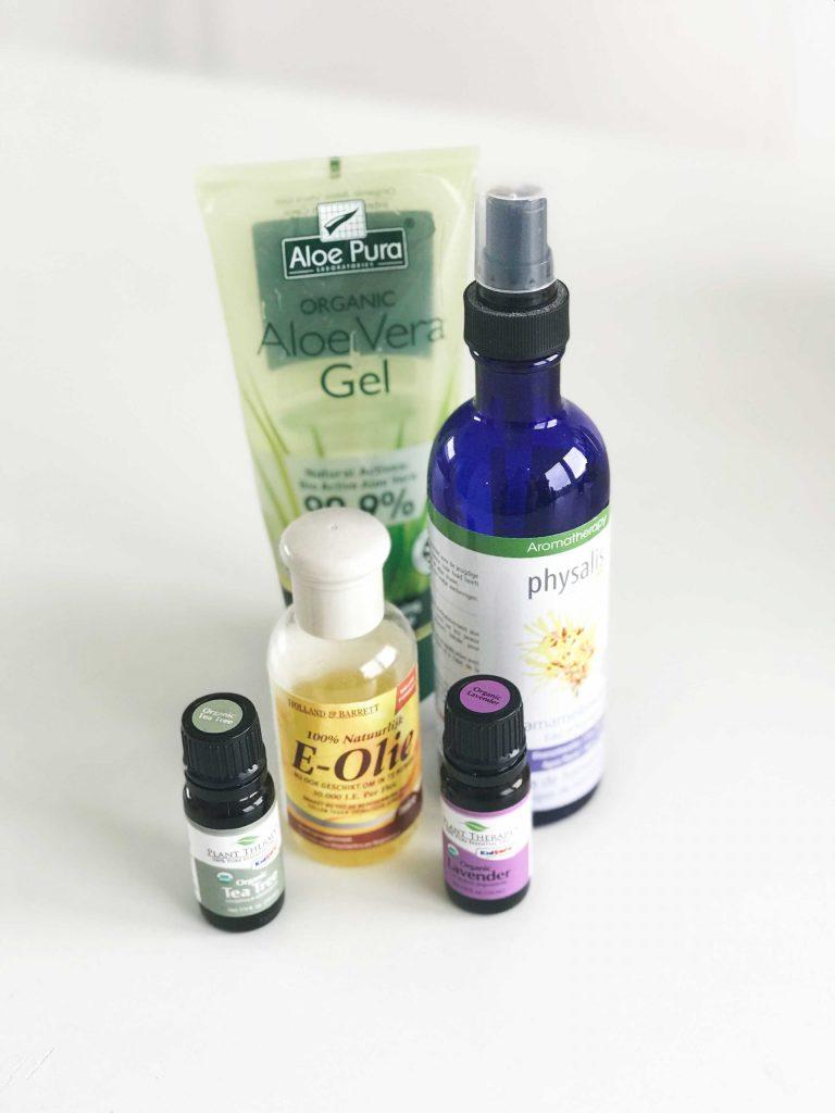 DIY hand sanitizer essential oils. Aloe Vera, Witch hazel, e-oil, Lavender oil, Tea tree oil