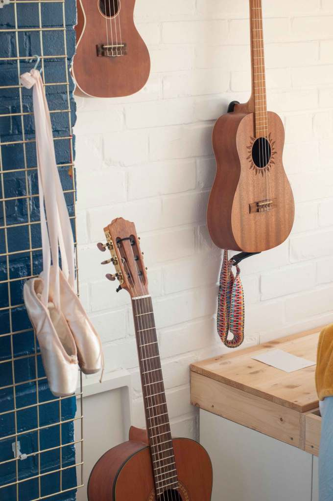 Ukelele hanging on the wall