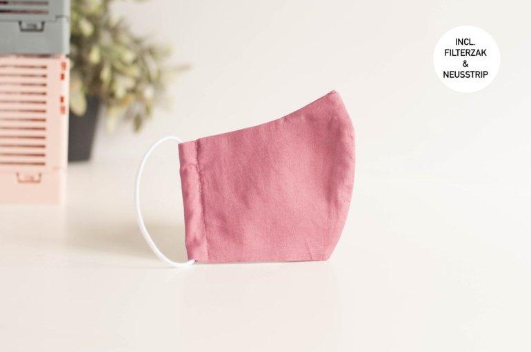Mondkapje donker oud roze