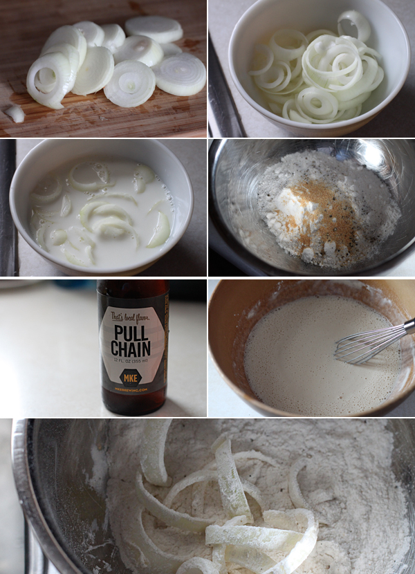 Ingredients for making beer battered onion rings