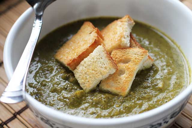 Kale and Broccoli Cheddar Soup
