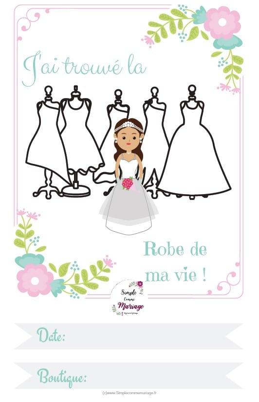 carte étape mariage robe