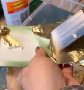 marque-tables aquarelle et feuilles d'or (12)