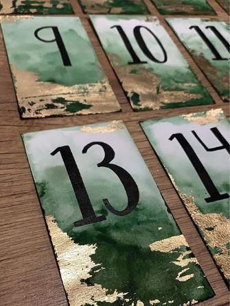 marque-tables aquarelle et feuilles d'or (13)