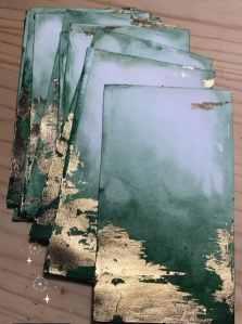marque-tables aquarelle et feuilles d'or (15)
