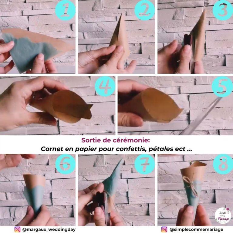 diy cornet papier confettis pétales lavande