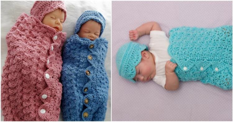 Button Up Baby Cocoon And Hat Free Pattern