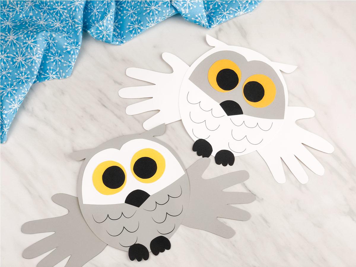 Handprint Snowy Owl Craft For Kids