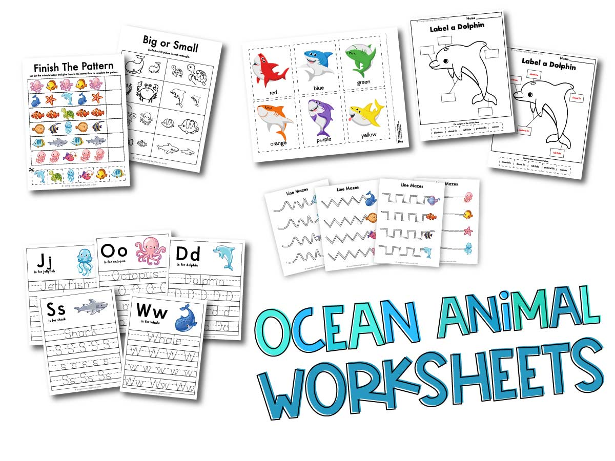 Ocean Animal Printable Preschool Worksheets