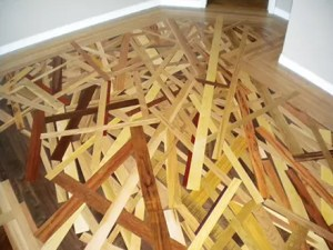 custom inlaid wood stack hardwood floor