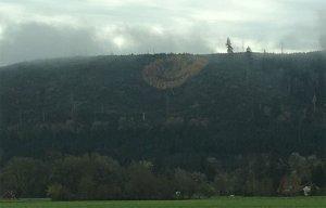 Huge smiley face on Oregon hillside near Grand Ronde