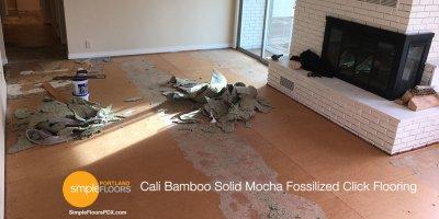 "Cali Bamboo Solid Mocha Fossilized Click Flooring 7/16"" x 3 - 3/4"""