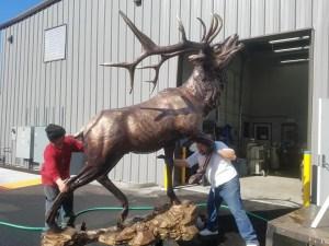 Bronze elk statue Portland