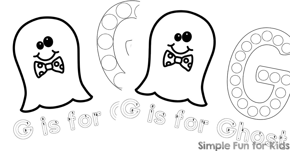 G is for Ghost Dot Marker Coloring Pages Printable