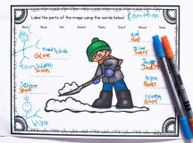 Practice handwriting, fine motor skills, reading, and labeling with these cute printable Shoveling Snow Labeling Worksheets. Includes a cut and paste version and requires no preparation. Great for kindergarten and first grade.