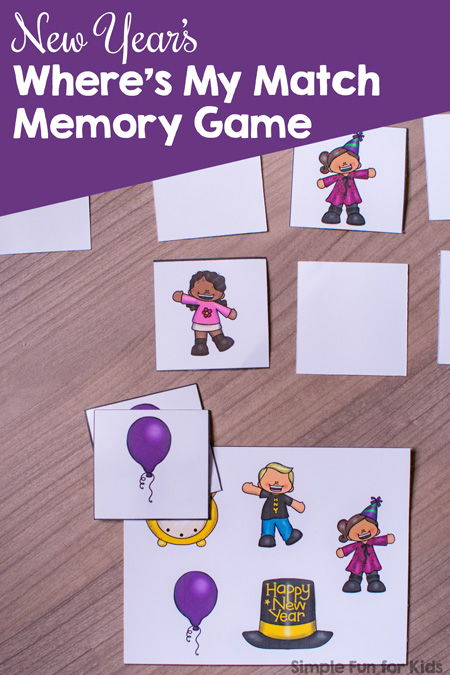 Amazing! New Year's Where's My Match Memory Game Printable