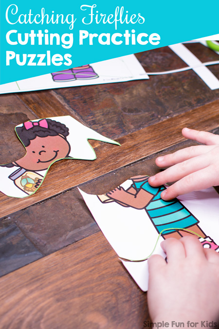 Fascinating! Catching Fireflies Cutting Practice Puzzles Printable